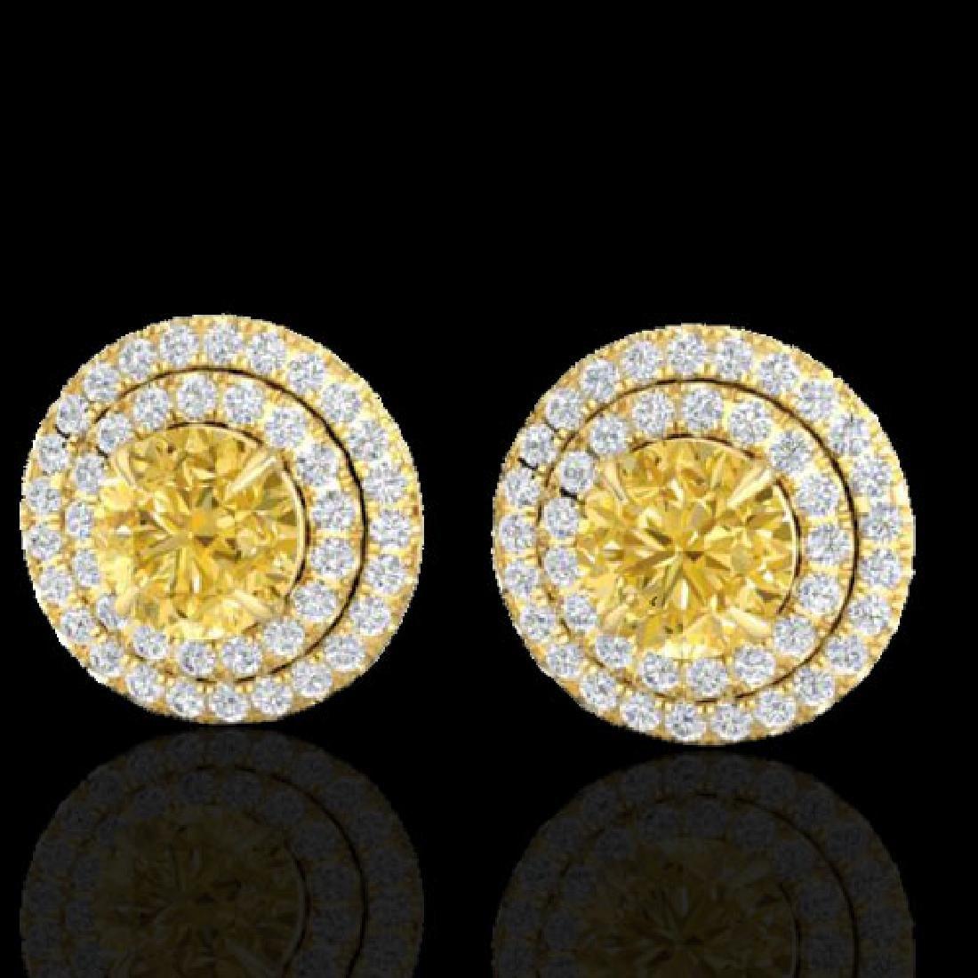 2 CTW Citrine & Micro Pave VS/SI Diamond Stud Earrings