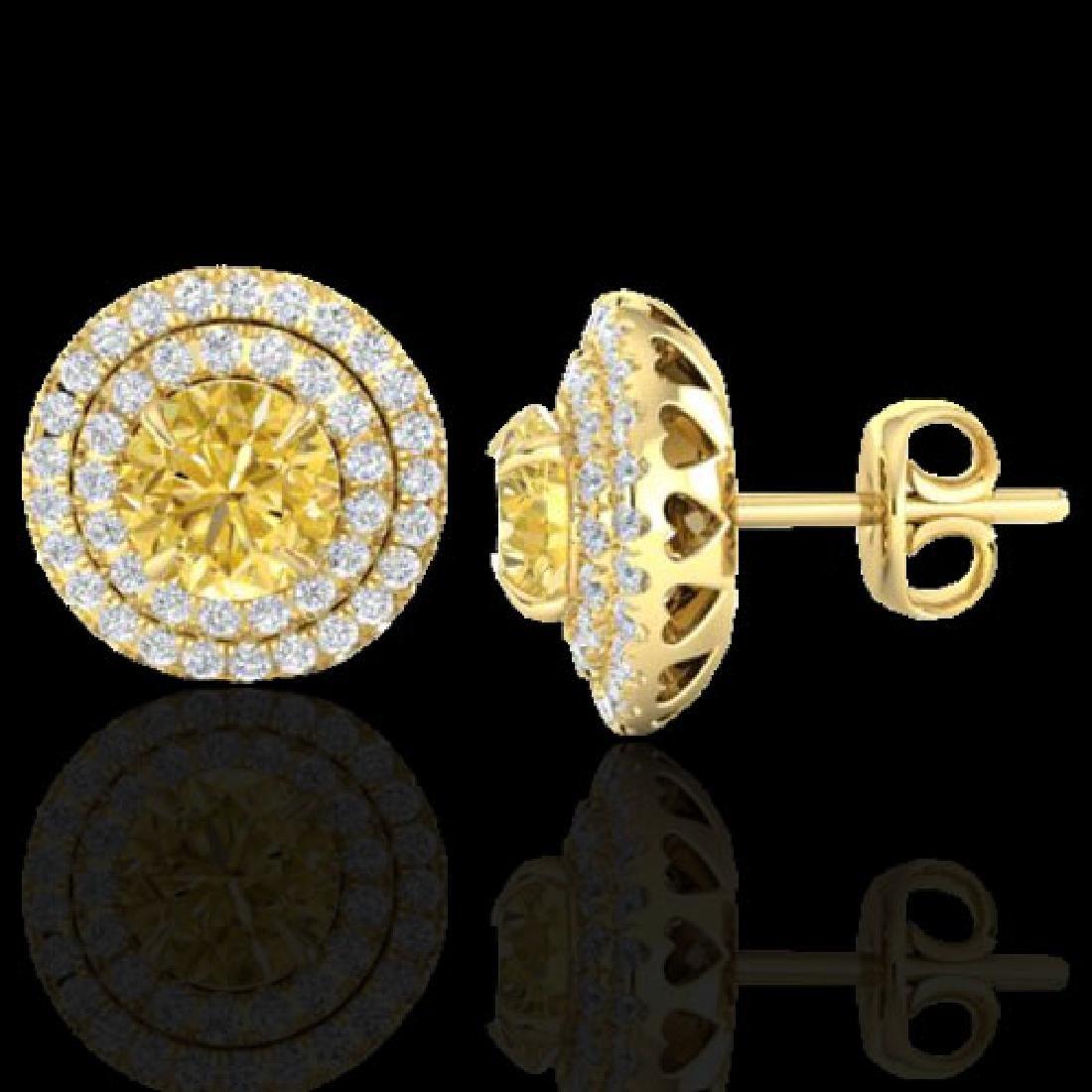 2 CTW Citrine & Micro Pave VS/SI Diamond Stud Earrings - 2