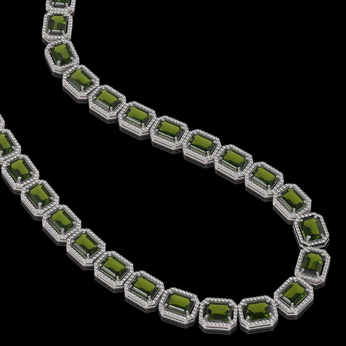 80.65 CTW Tourmaline & Diamond Halo Necklace 10K White - 2