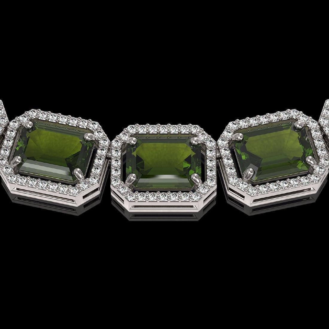 80.65 CTW Tourmaline & Diamond Halo Necklace 10K White - 3