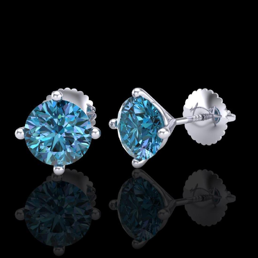 2 CTW Fancy Intense Blue Diamond Solitaire Art Deco - 2