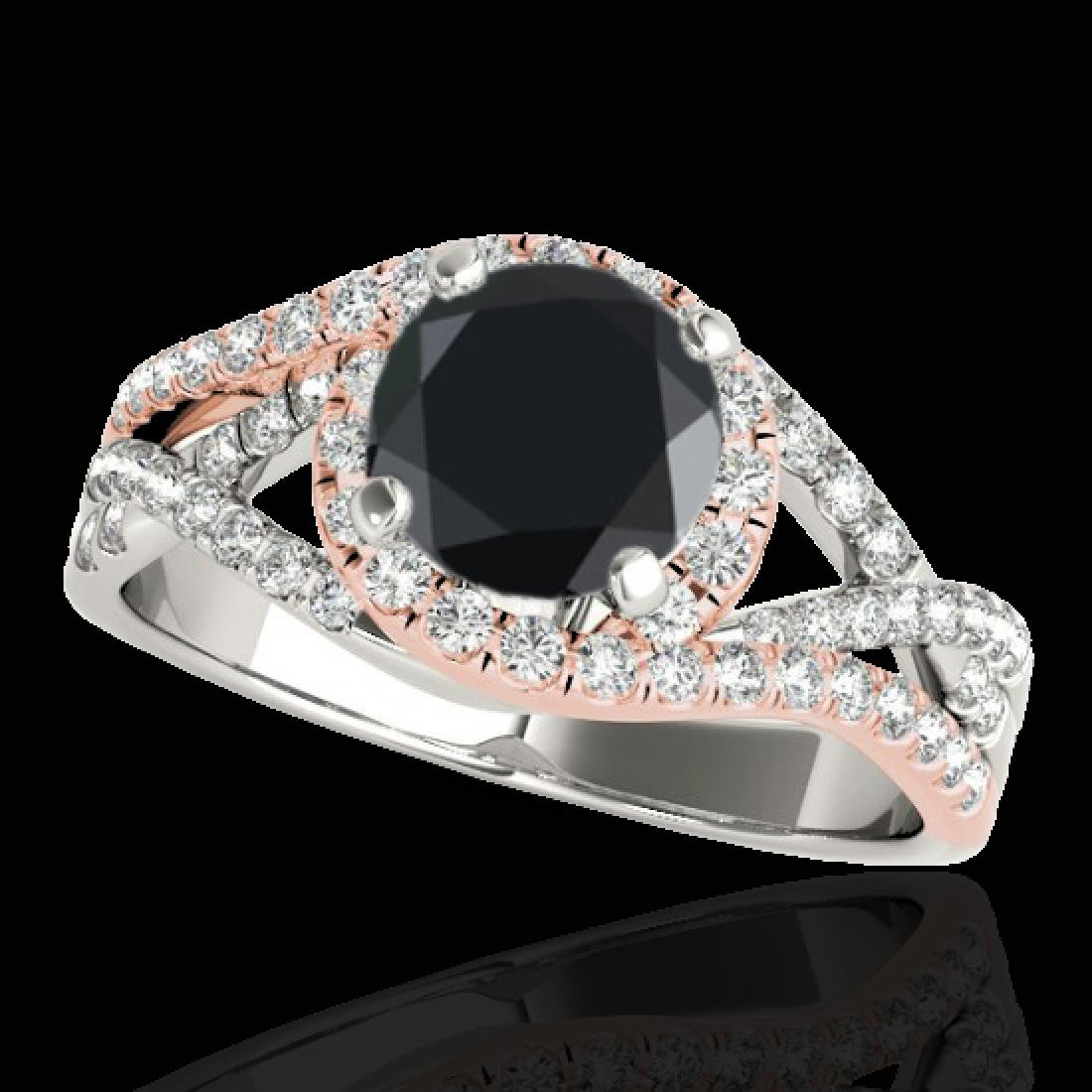 2 CTW Certified VS Black Diamond Solitaire Halo Ring
