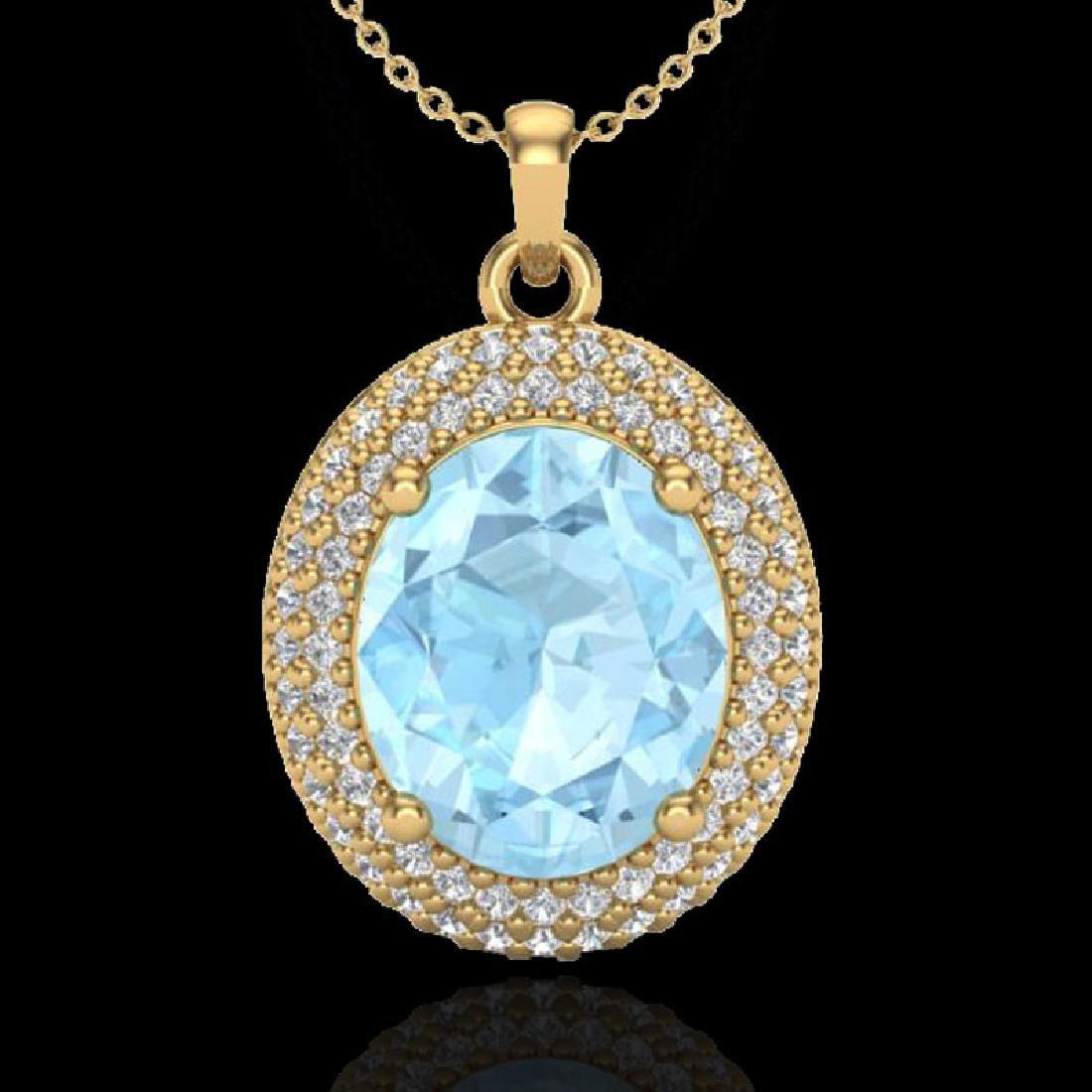 4 CTW Aquamarine & Micro Pave VS/SI Diamond Necklace