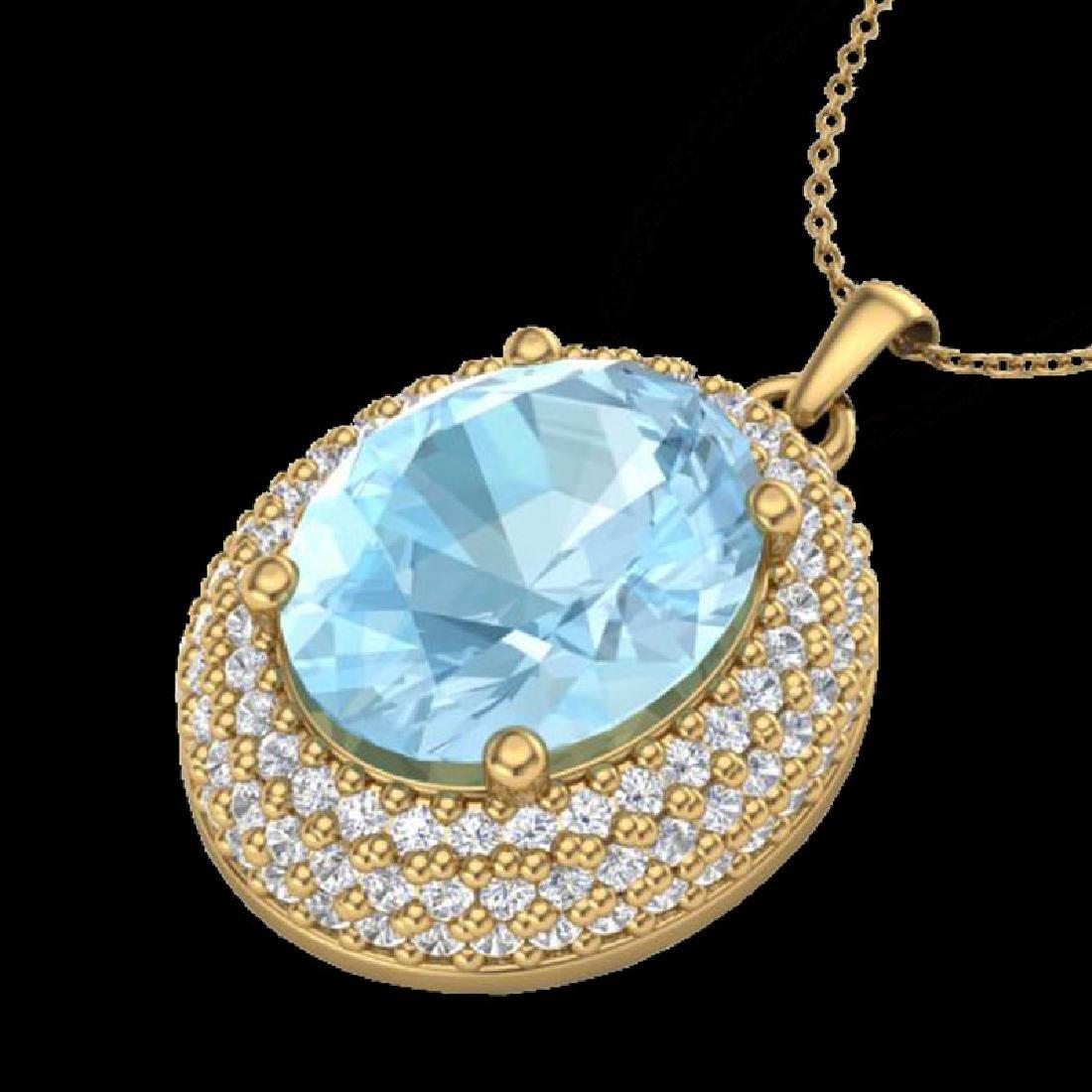 4 CTW Aquamarine & Micro Pave VS/SI Diamond Necklace - 2
