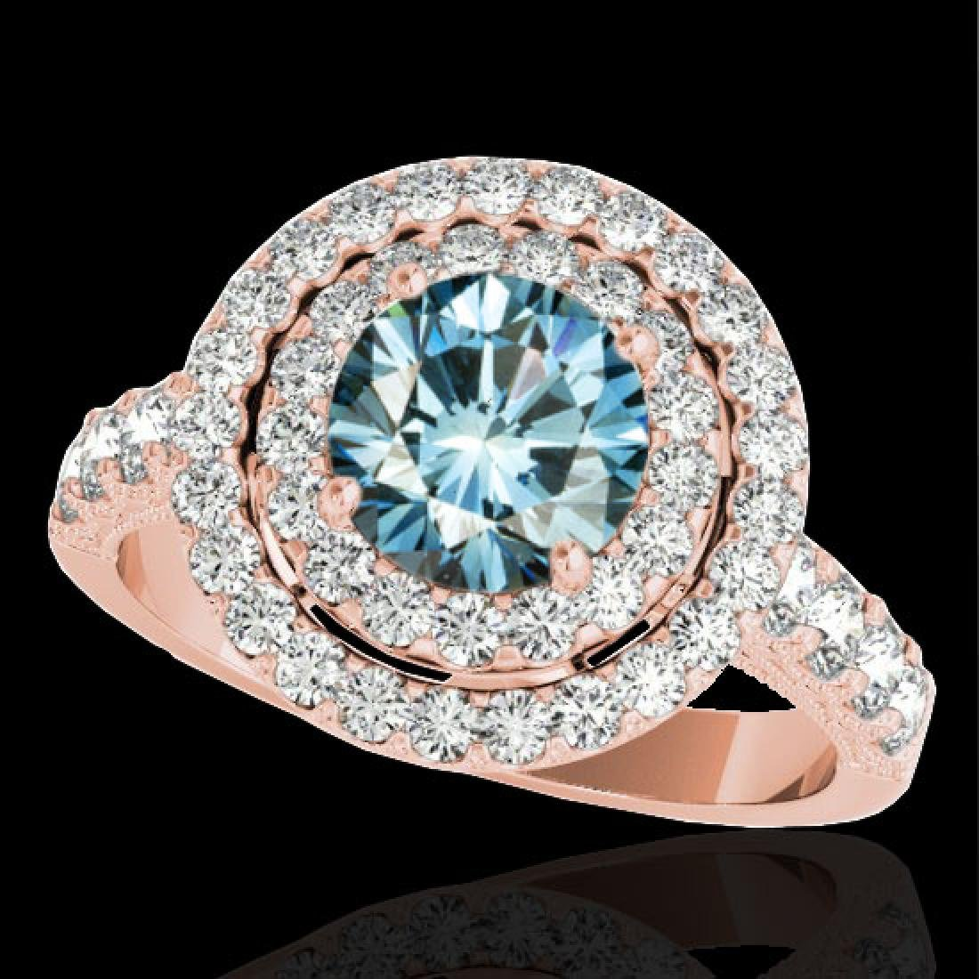 3 CTW SI Certified Blue Diamond Solitaire Halo Ring 10K
