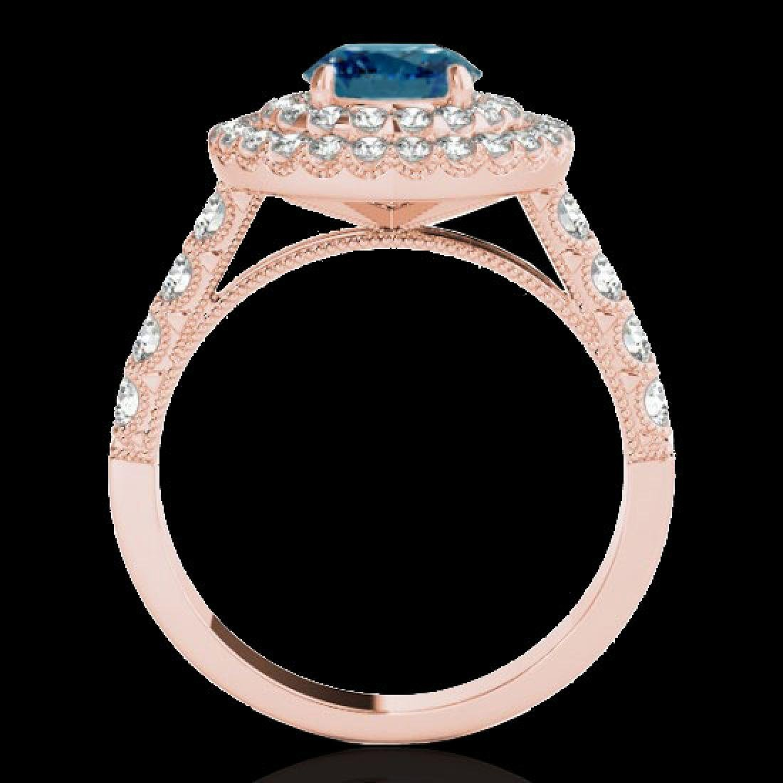 3 CTW SI Certified Blue Diamond Solitaire Halo Ring 10K - 2