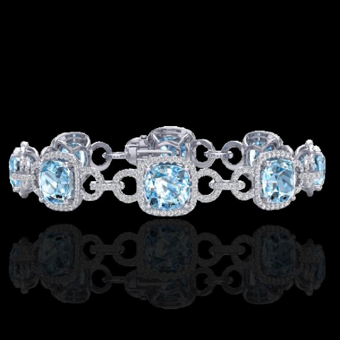 30 CTW Topaz & Micro VS/SI Diamond Bracelet 14K White
