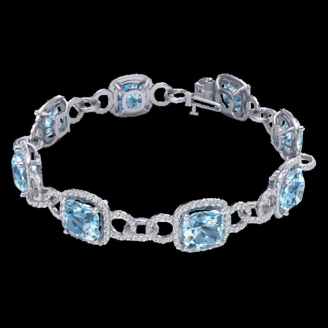 30 CTW Topaz & Micro VS/SI Diamond Bracelet 14K White - 2