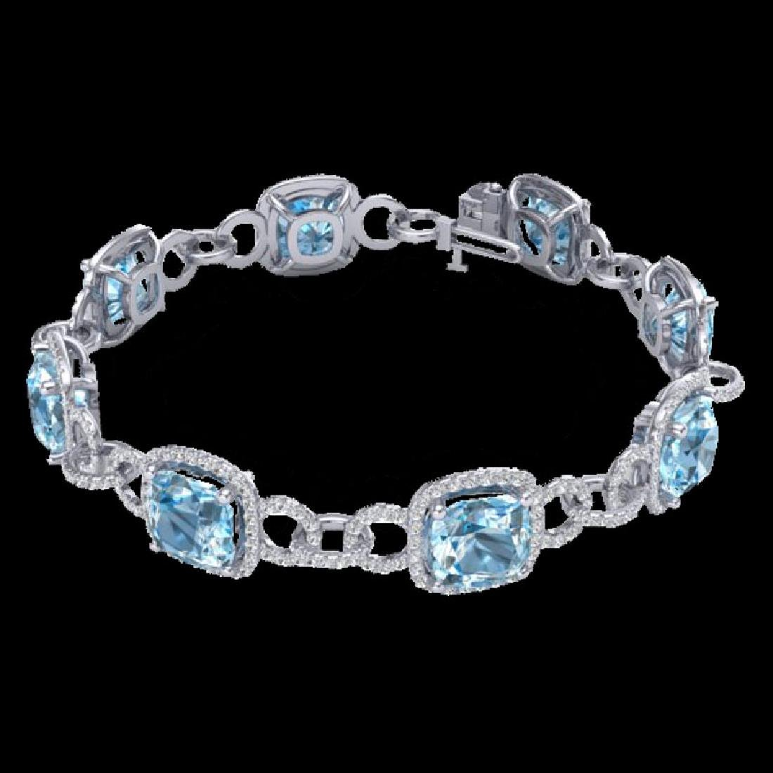 30 CTW Topaz & Micro VS/SI Diamond Bracelet 14K White - 2