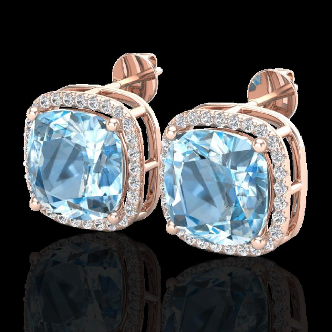 12 CTW Sky Blue Topaz & Micro Halo VS/SI Diamond