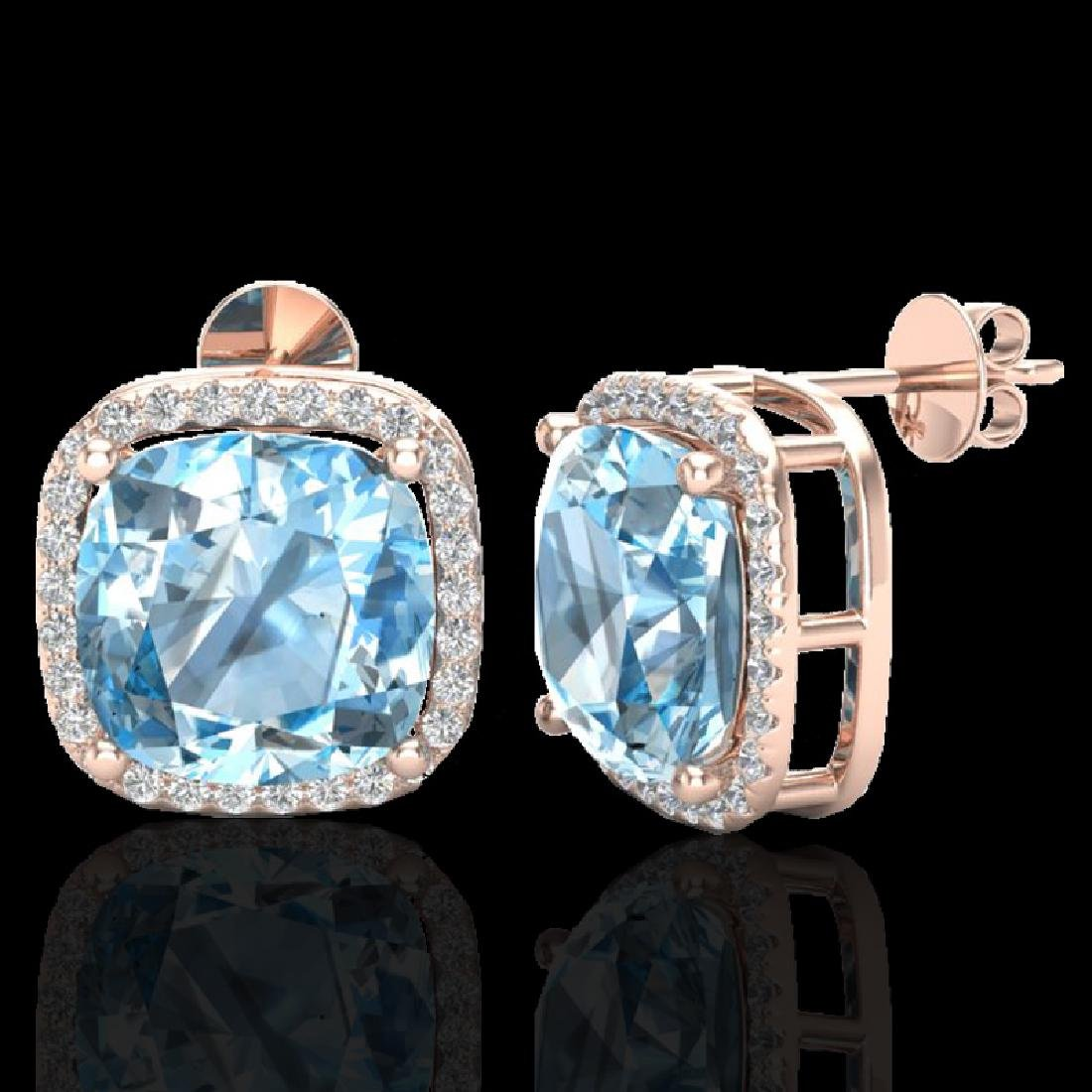12 CTW Sky Blue Topaz & Micro Halo VS/SI Diamond - 2