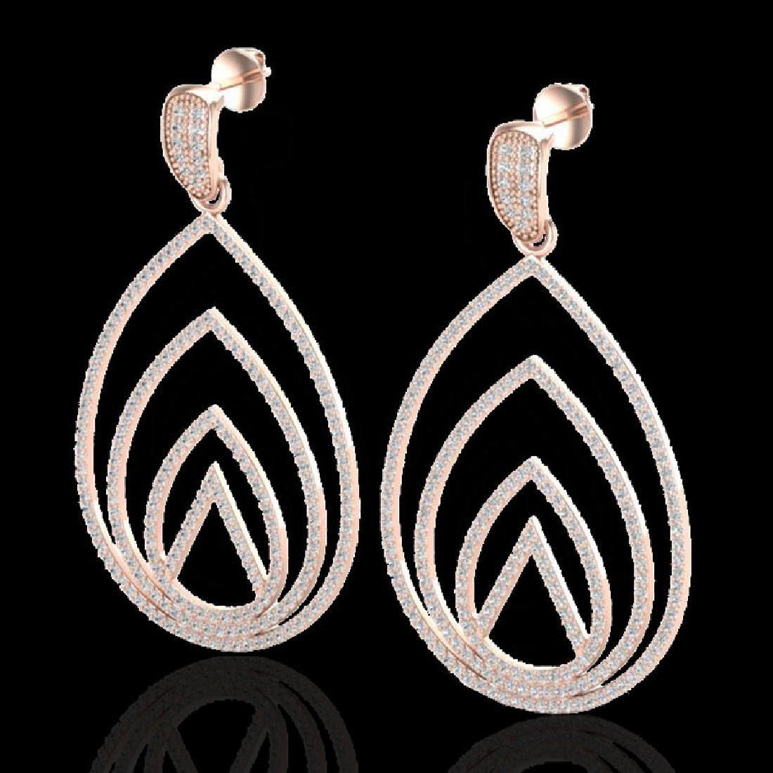 2.50 CTW Micro Pave VS/SI Diamond Designer Earrings 14K