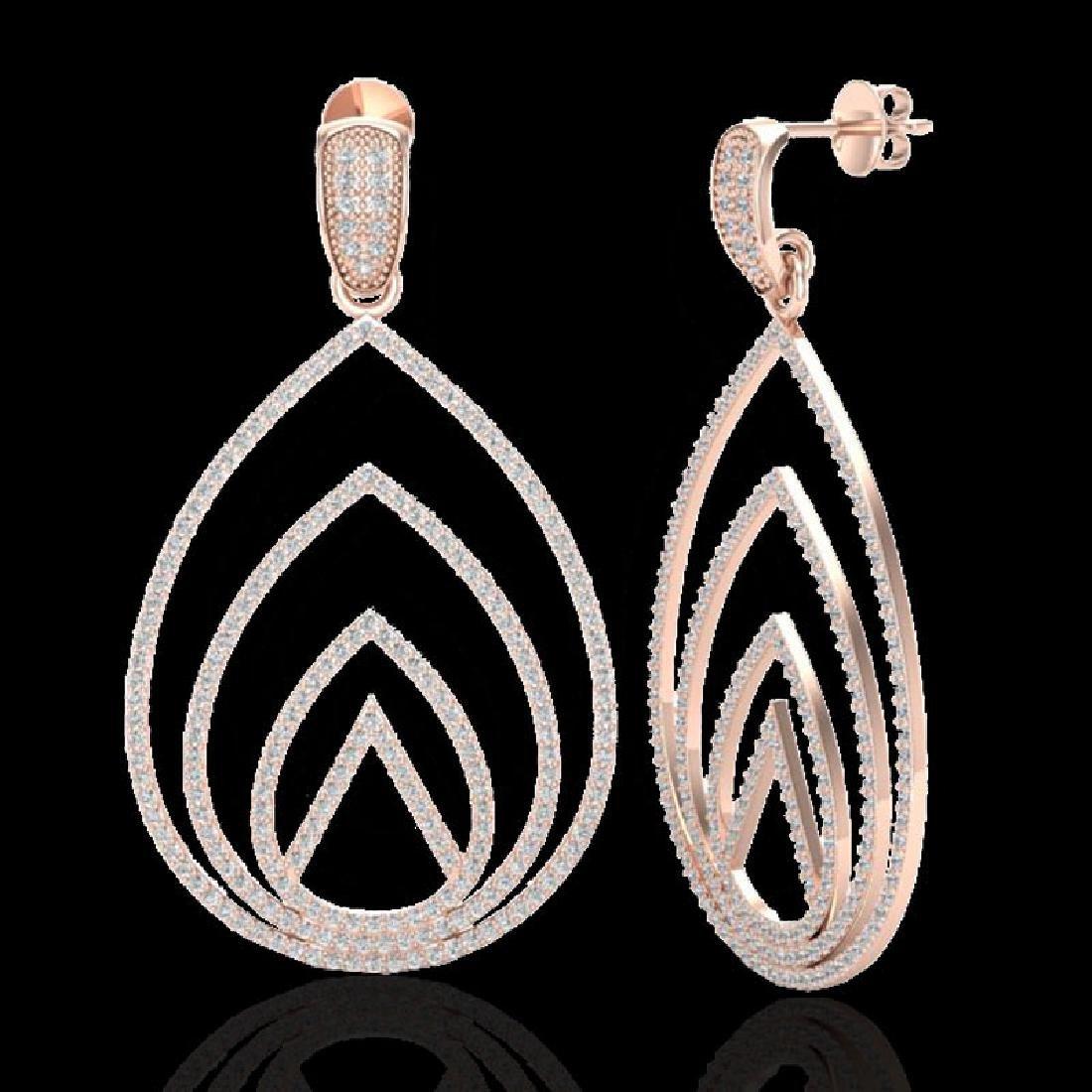 2.50 CTW Micro Pave VS/SI Diamond Designer Earrings 14K - 2