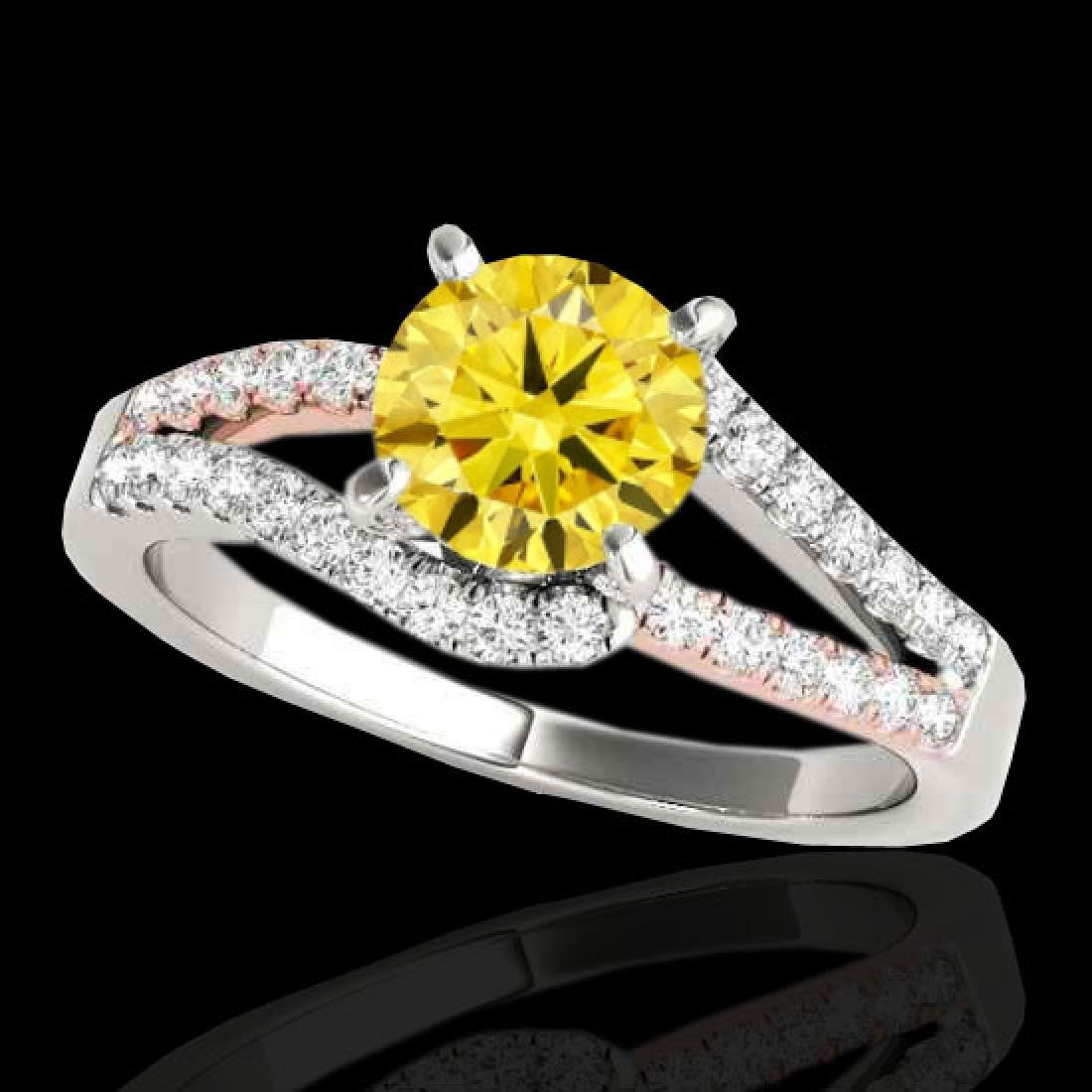 1.4 CTW Certified Si Fancy Yellow Diamond Solitaire