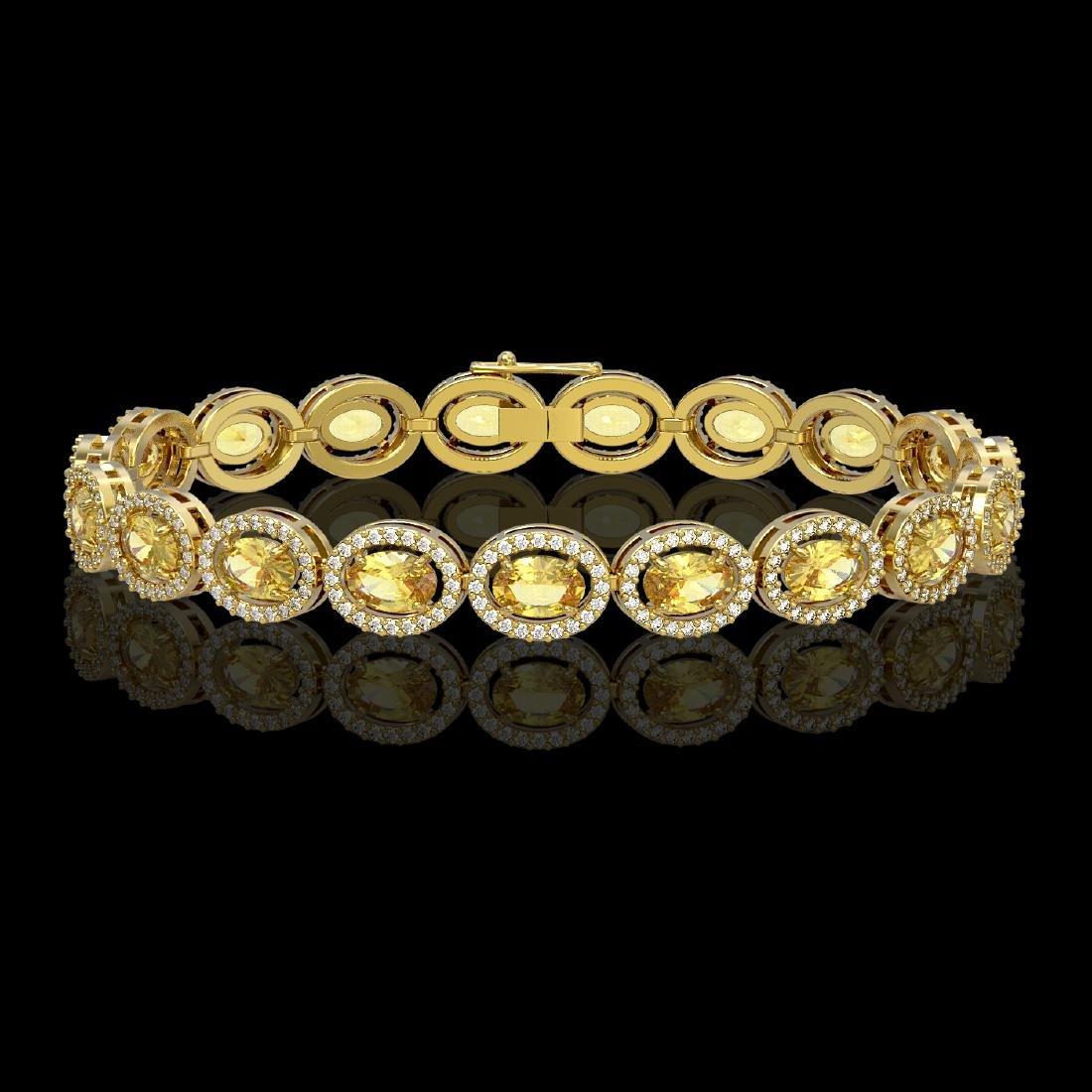 12.73 CTW Fancy Citrine & Diamond Halo Bracelet 10K