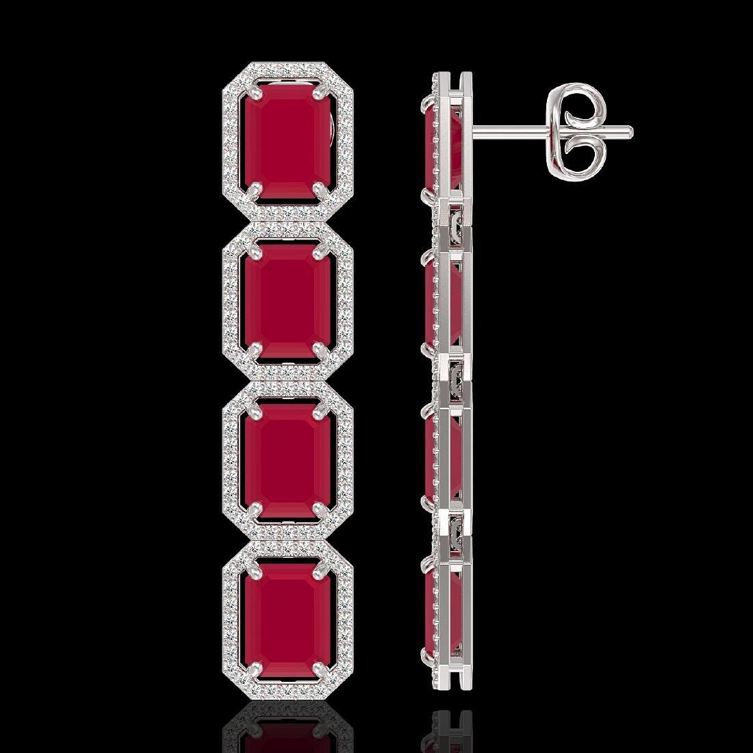 20.59 CTW Ruby & Diamond Halo Earrings 10K White Gold - 2