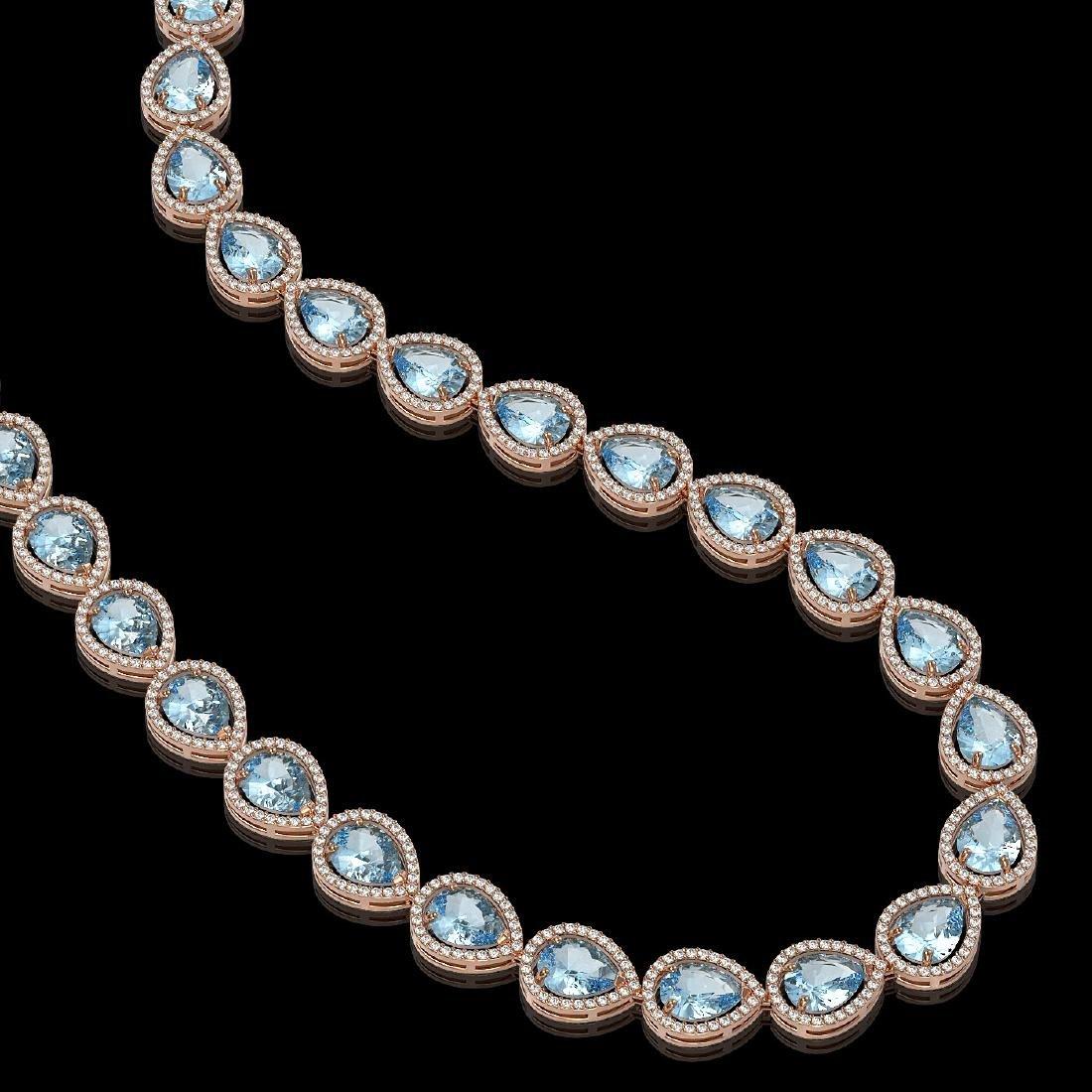 41.6 CTW Sky Topaz & Diamond Halo Necklace 10K Rose - 2