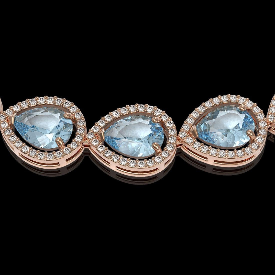 41.6 CTW Sky Topaz & Diamond Halo Necklace 10K Rose - 3