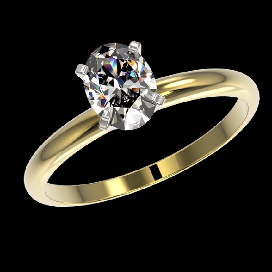 1 CTW Certified VS/SI Quality Oval Diamond Solitaire - 2