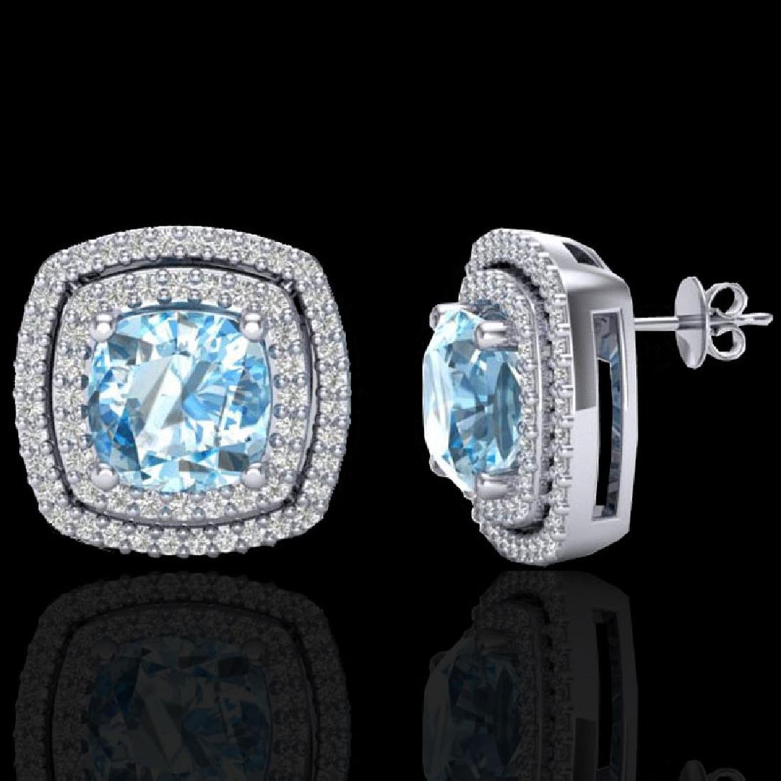 4.05 CTW Sky Blue Topaz & Micro VS/SI Diamond Halo - 2