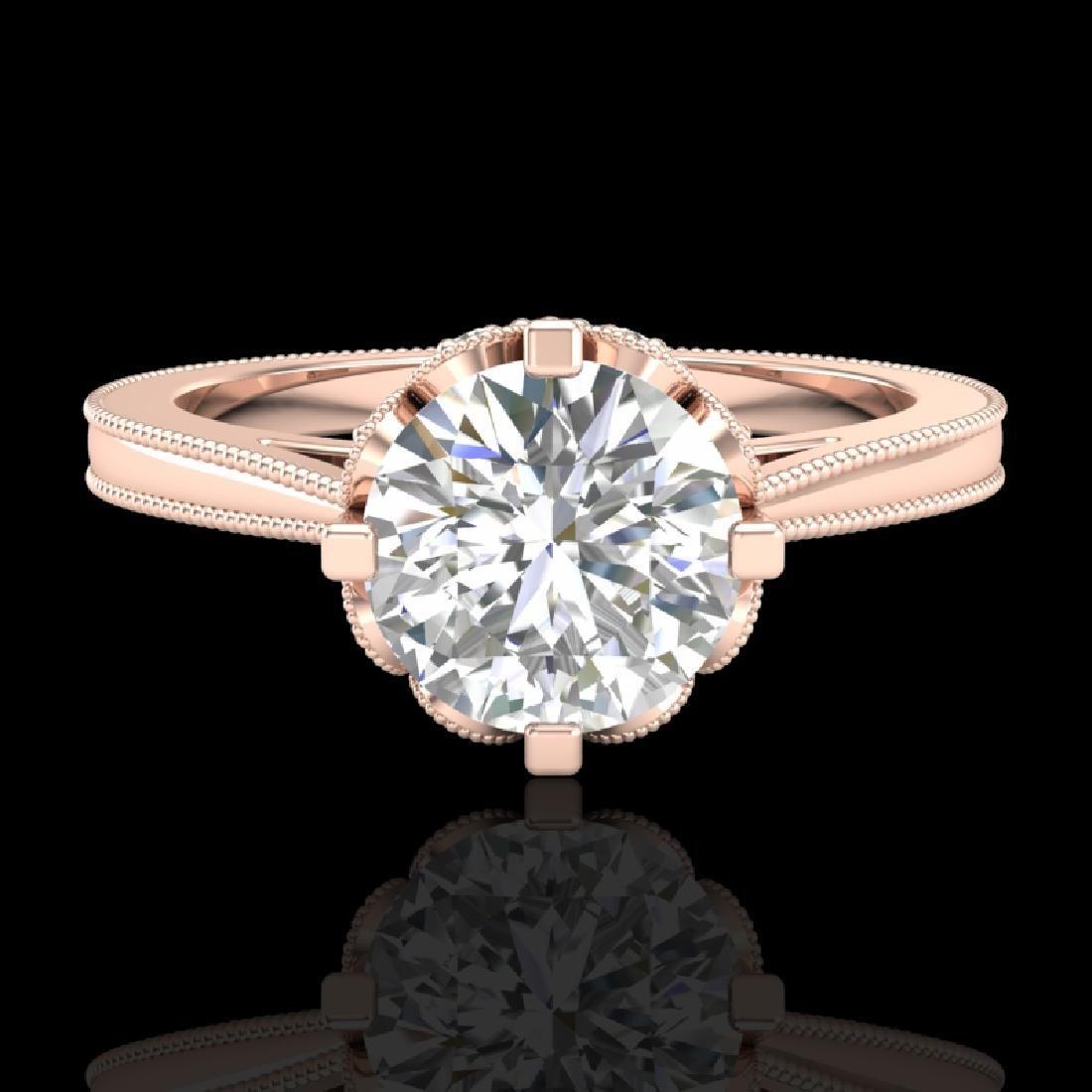 1.5 CTW VS/SI Diamond Art Deco Ring 18K Rose Gold - 2