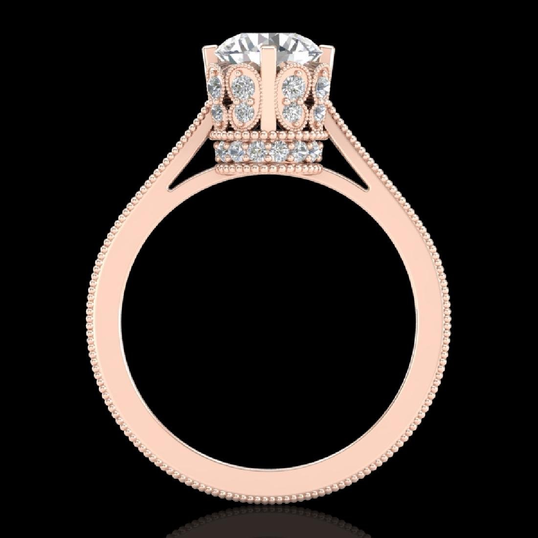 1.5 CTW VS/SI Diamond Art Deco Ring 18K Rose Gold - 3