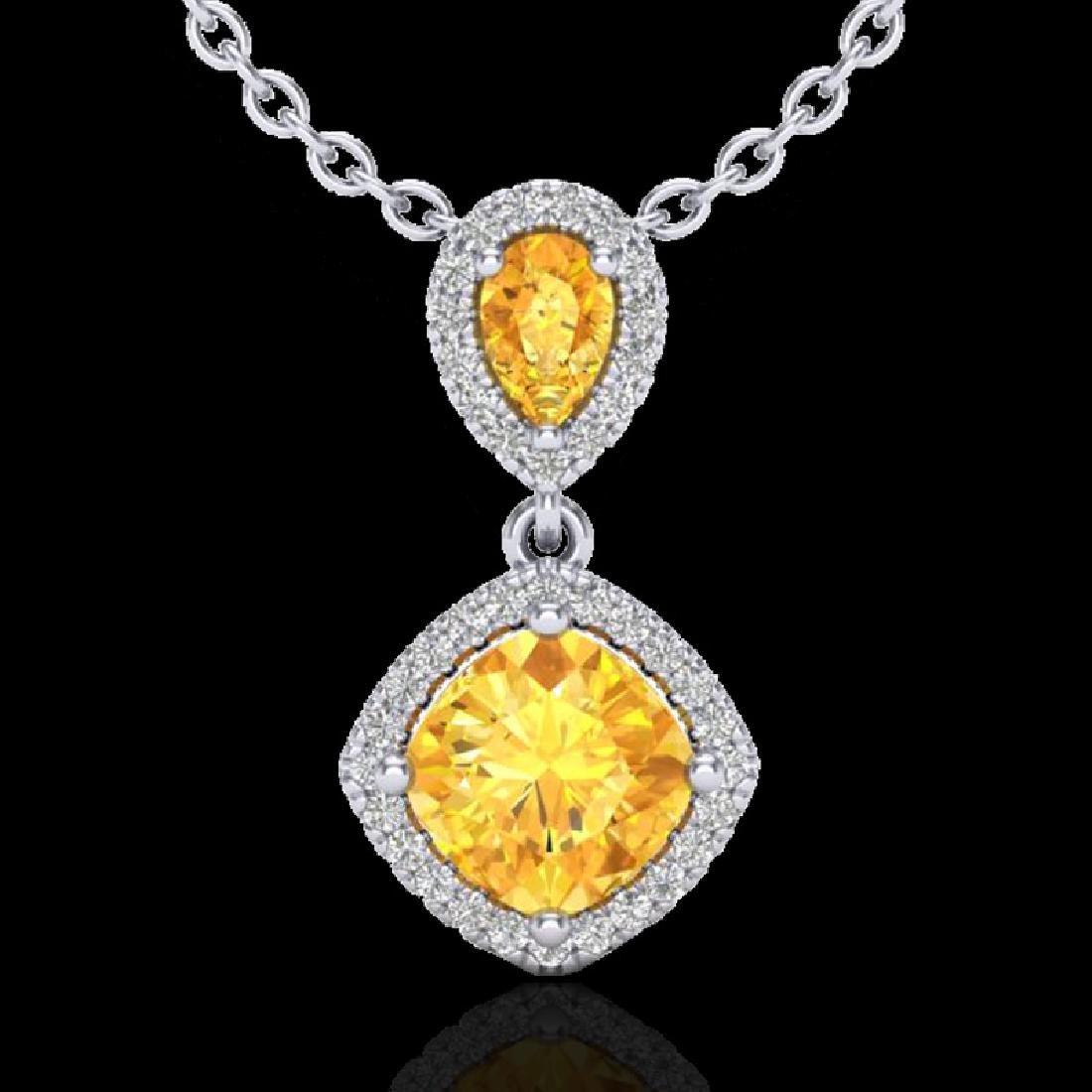 2.63 CTW Citrine & Micro VS/SI Diamond Necklace