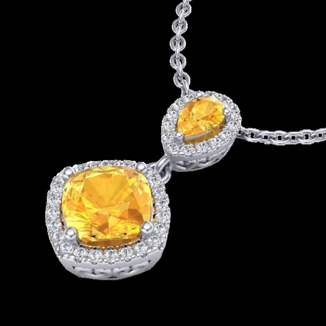 2.63 CTW Citrine & Micro VS/SI Diamond Necklace - 2