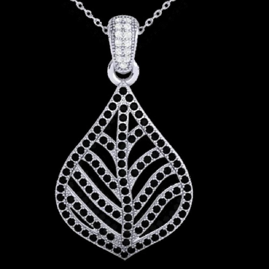 1.25 CTW Micro Pave Black & VS/SI Diamond Necklace