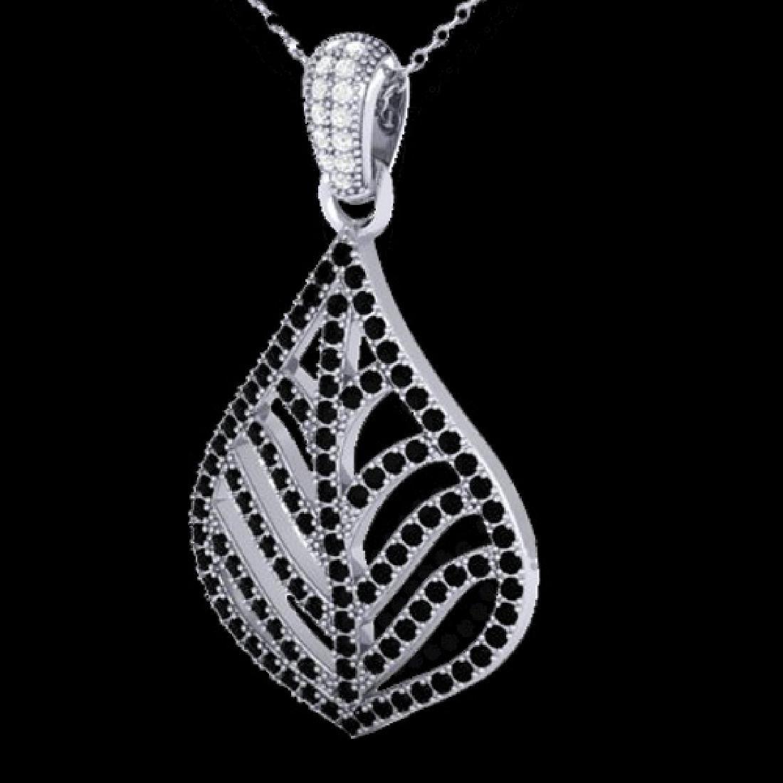 1.25 CTW Micro Pave Black & VS/SI Diamond Necklace - 2