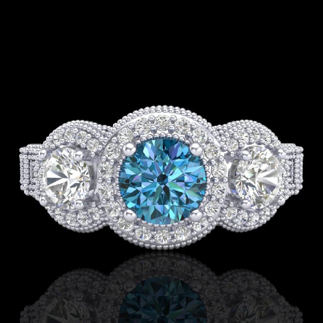 2.16 CTW Intense Blue Diamond Solitaire Art Deco 3 - 2