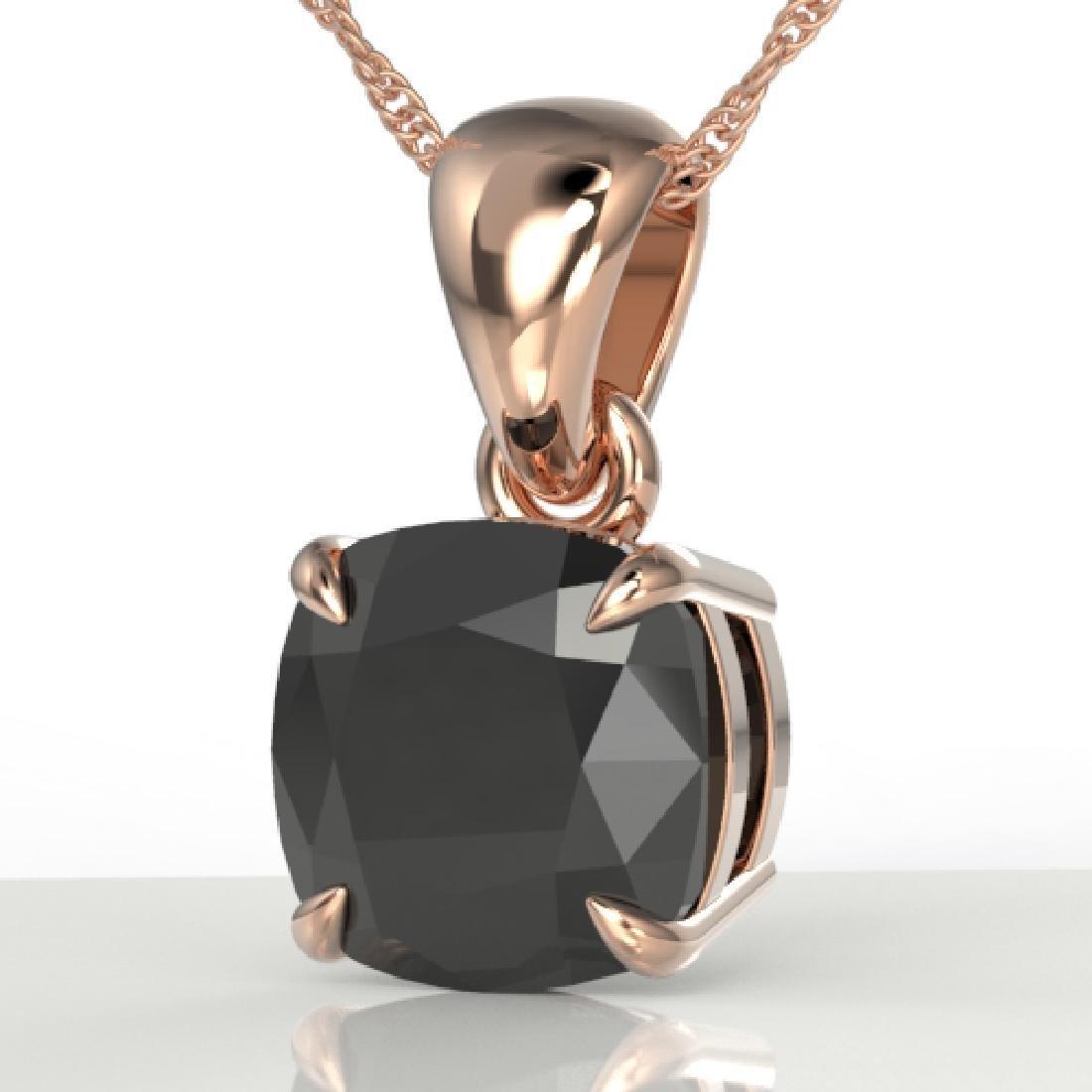 3 CTW Cushion Cut Black VS/SI Diamond Designer Necklace