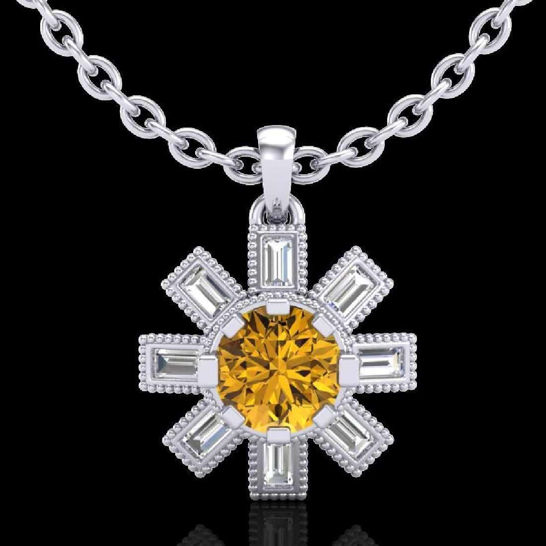 1.33 CTW Intense Fancy Yellow Diamond Art Deco Stud