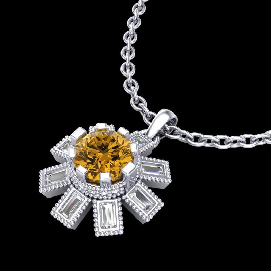 1.33 CTW Intense Fancy Yellow Diamond Art Deco Stud - 2