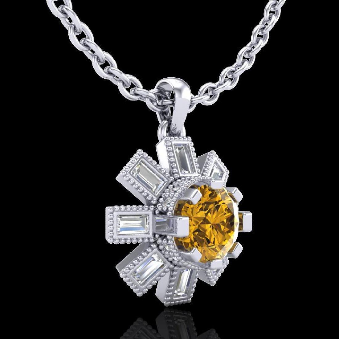 1.33 CTW Intense Fancy Yellow Diamond Art Deco Stud - 3