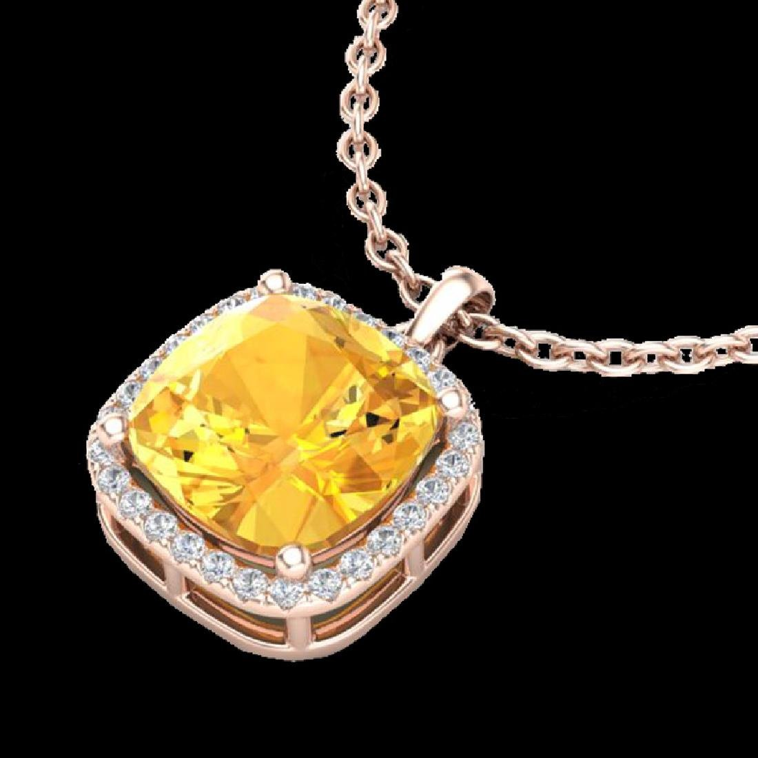 6 CTW Citrine & Micro Pave Halo VS/SI Diamond Necklace