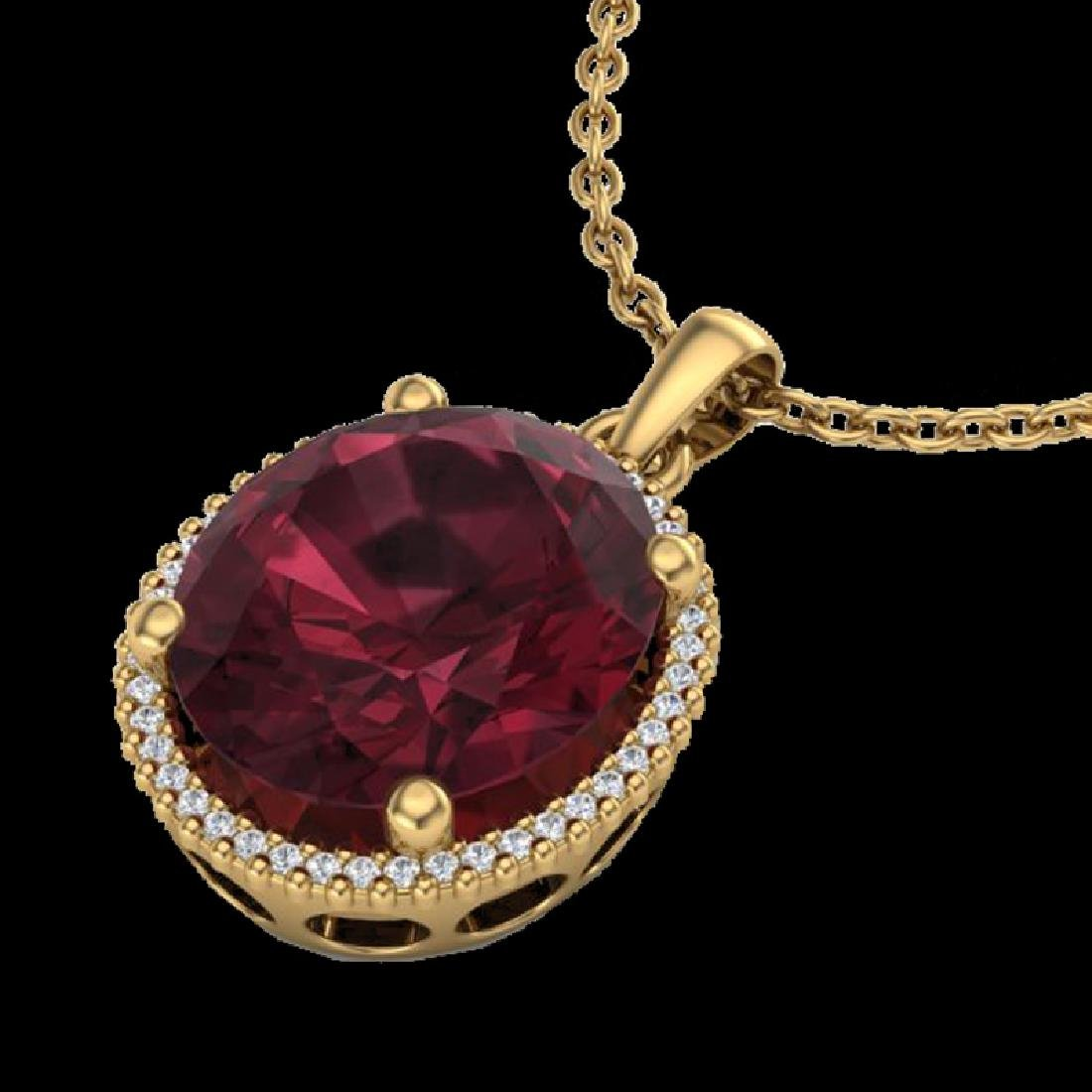 11 CTW Garnet & Micro Pave VS/SI Diamond Halo Necklace - 2
