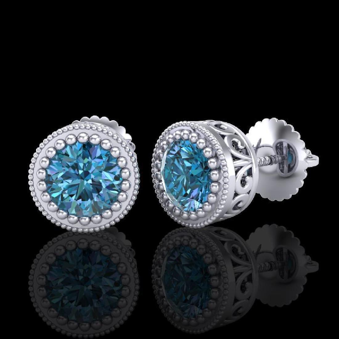 1.09 CTW Fancy Intense Blue Diamond Art Deco Stud - 2