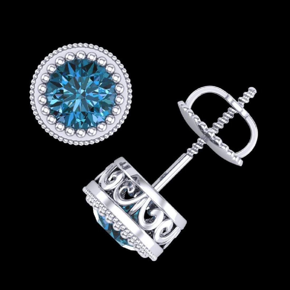 1.09 CTW Fancy Intense Blue Diamond Art Deco Stud - 3