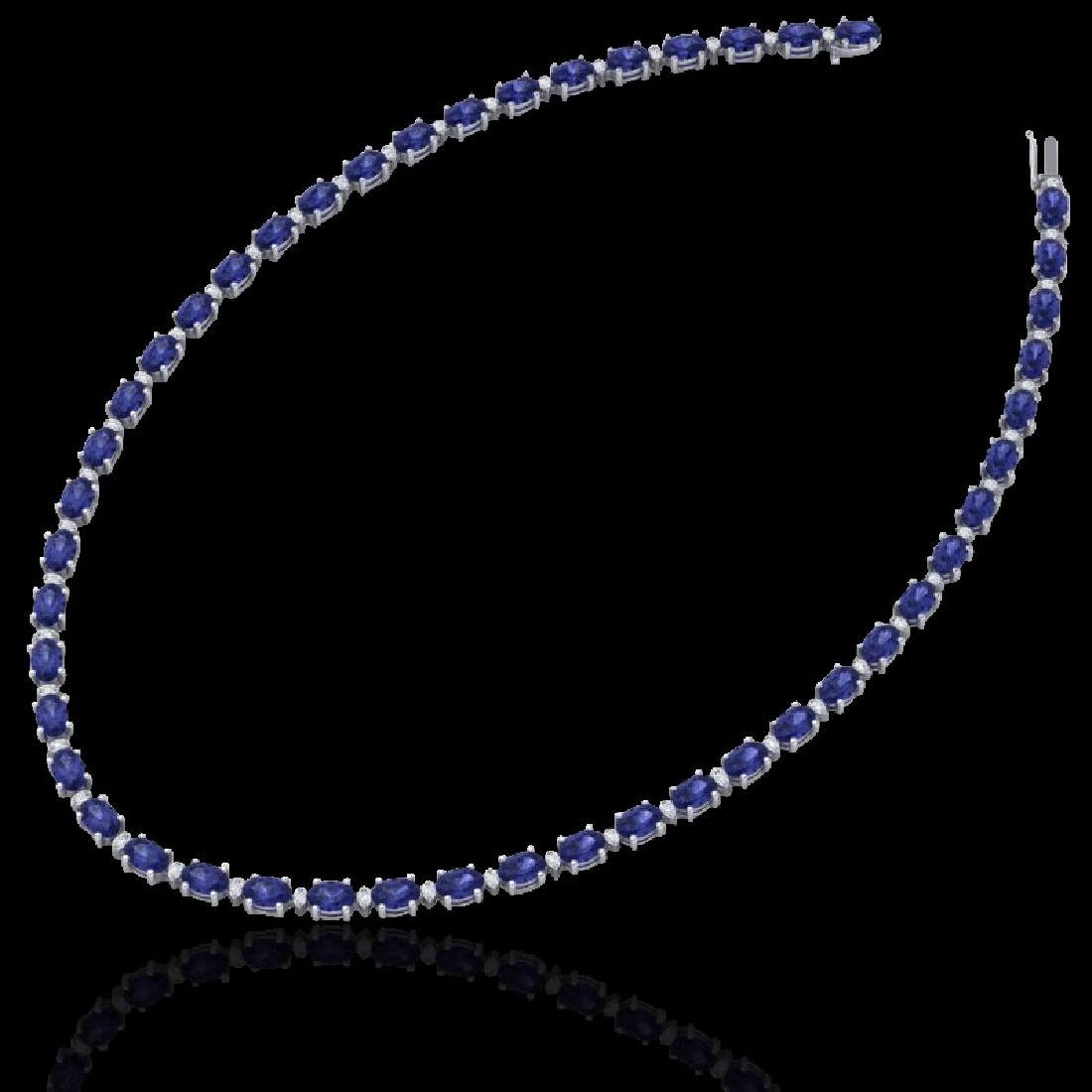 46.5 CTW Tanzanite & VS/SI Certified Diamond Eternity - 2