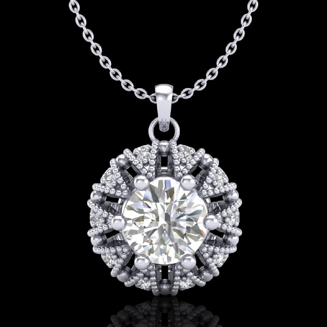 1.2 CTW VS/SI Diamond Art Deco Micro Pave Stud Necklace