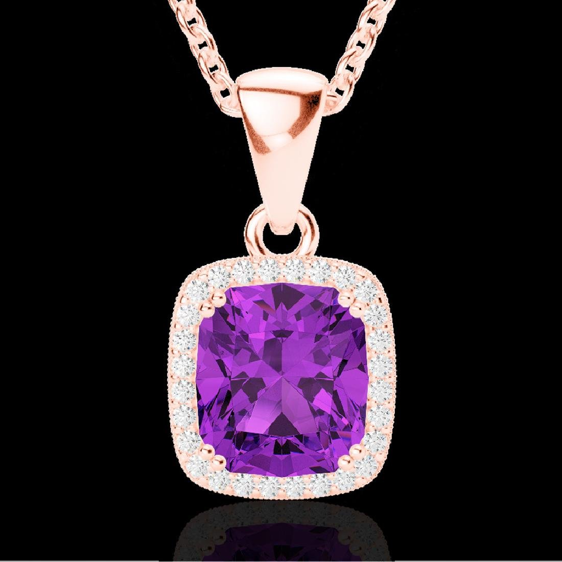 3 CTW Amethyst & Micro VS/SI Diamond Pave Halo Necklace - 2