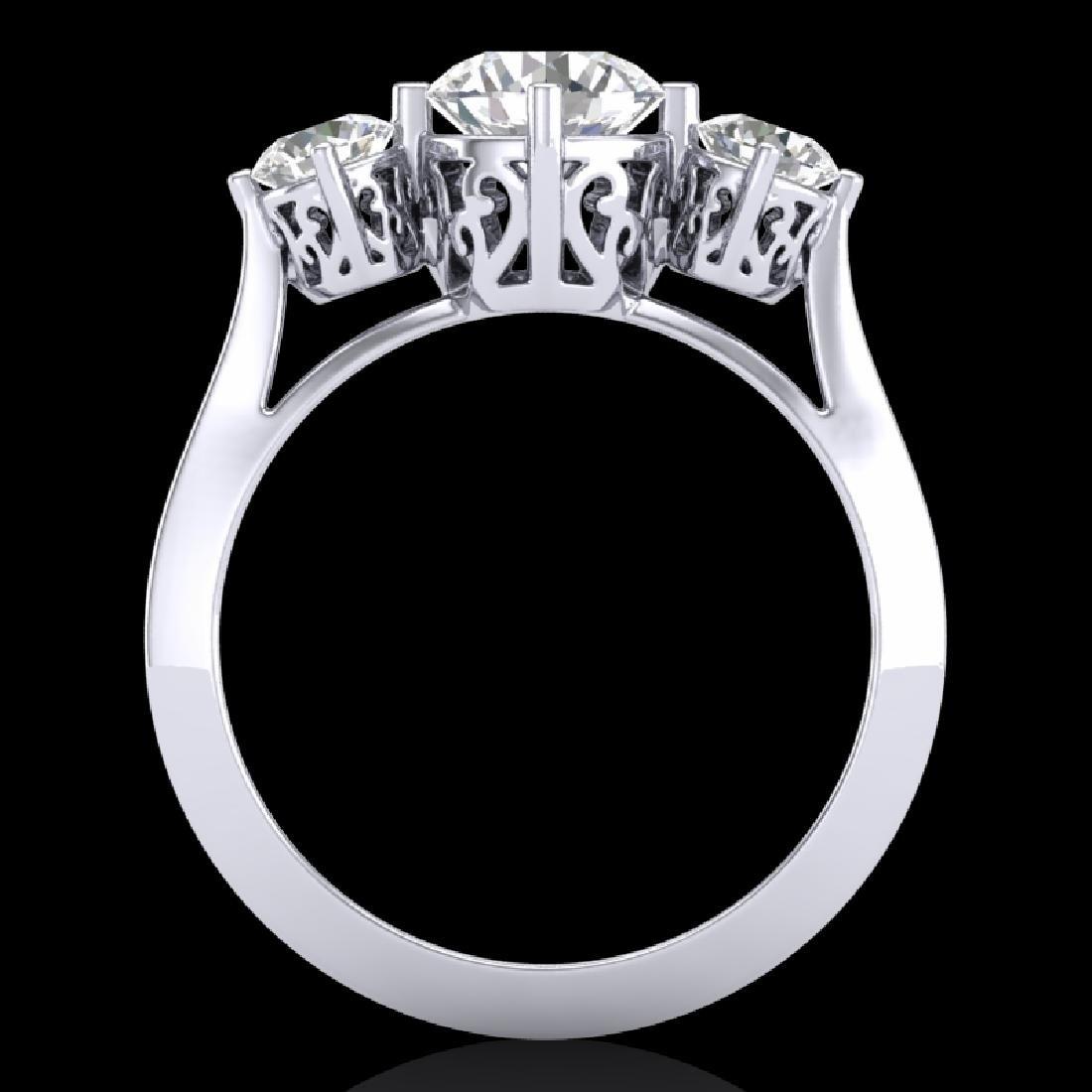 1.51 CTW VS/SI Diamond Solitaire Art Deco 3 Stone Ring - 2