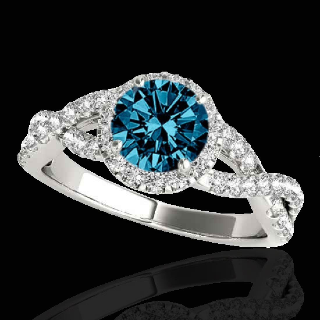 1.54 CTW SI Certified Fancy Blue Diamond Solitaire Halo