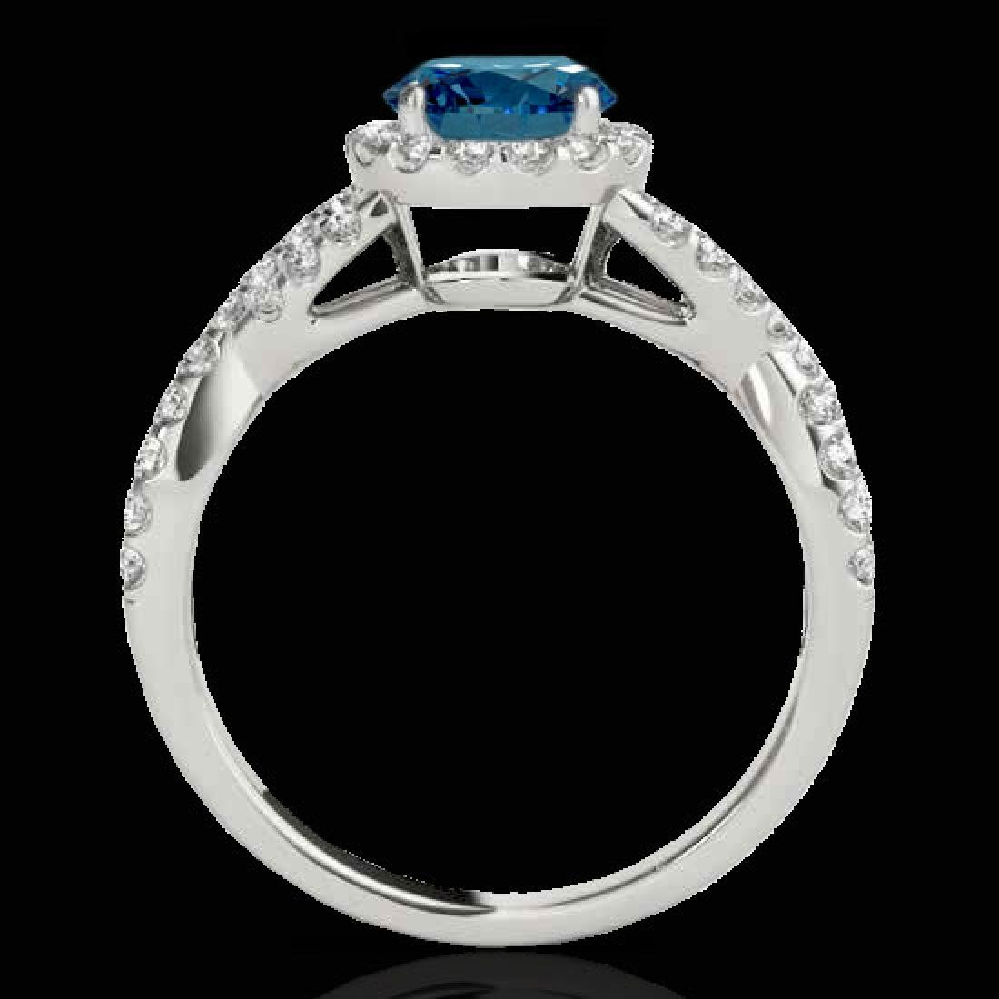 1.54 CTW SI Certified Fancy Blue Diamond Solitaire Halo - 2