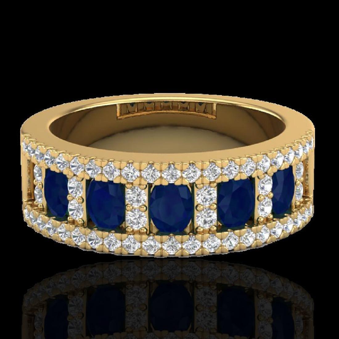 2.34 CTW Sapphire & Micro Pave VS/SI Diamond Inspired