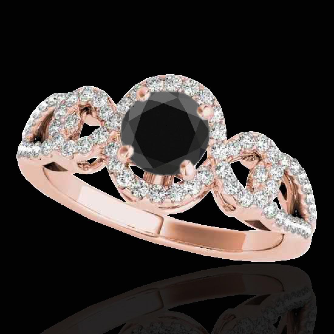1.38 CTW Certified VS Black Diamond Solitaire Halo Ring