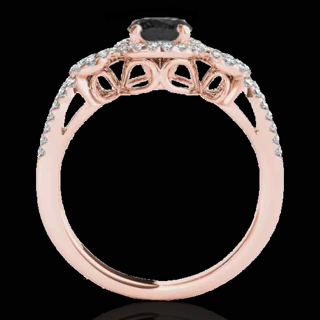 1.38 CTW Certified VS Black Diamond Solitaire Halo Ring - 2