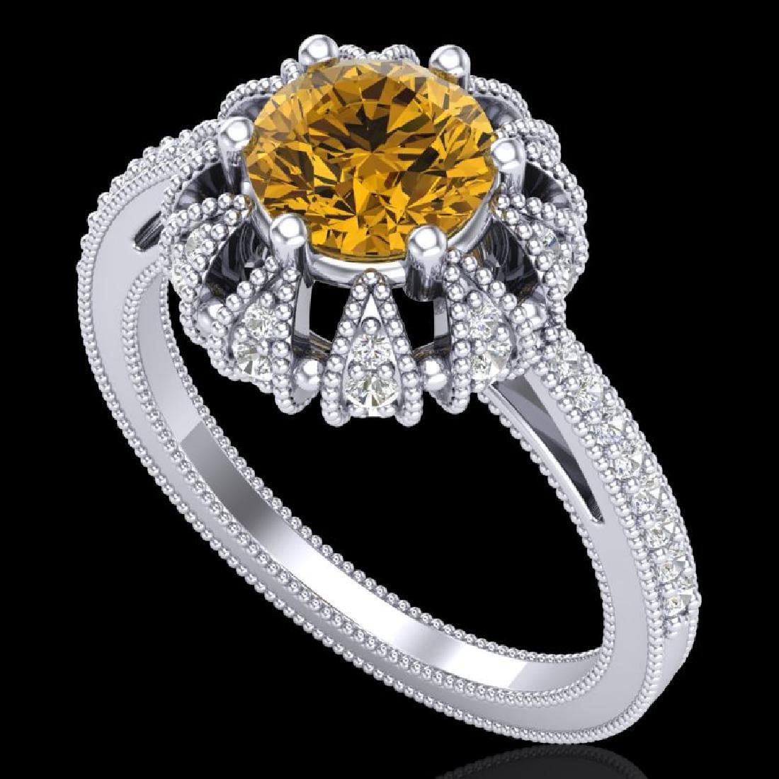 1.65 CTW Intense Fancy Yellow Diamond Engagement Art