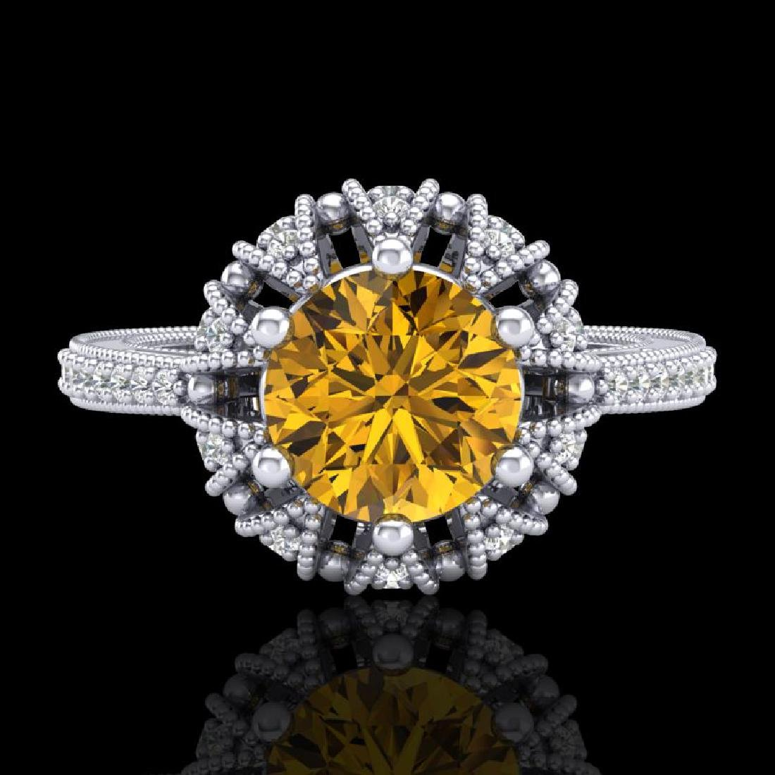 1.65 CTW Intense Fancy Yellow Diamond Engagement Art - 2